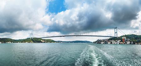 Panorama of second Bosphorus bridge Fatih Sultan Mehmet Koprusu in Istanbul Turkey - connecting Asia and Europe