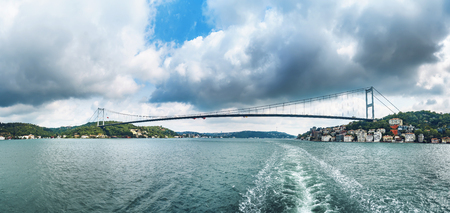 Panorama of second Bosphorus bridge Fatih Sultan Mehmet Koprusu in Istanbul Turkey - connecting Asia and Europe