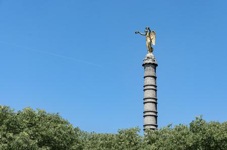 Detail of Victory figure on the La Fontaine du Palmier monument in the Place du Châtelet Paris France Europe