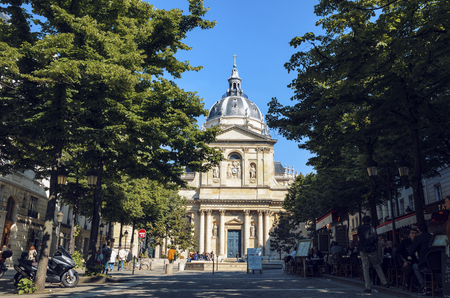 Paris, France - May 08, 2017: Sorbonne square. Name is derived from College de Sorbonne, founded in 1257 by Robert de Sorbon as one of the first colleges of medieval University in Paris