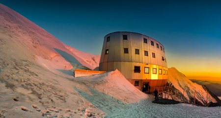 Sunset panoramic view of Mont Blanc, Refuge Du Gouter 3835 m, The popular starting point for attempting the ascent of Mont Blanc , France