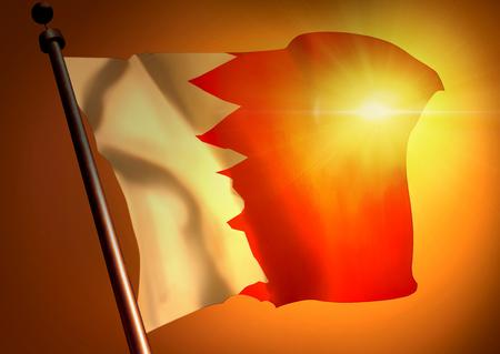 winner waving Bahrain flag against the sunset 版權商用圖片