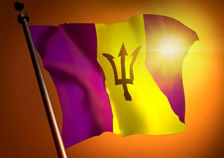 winner waving Barbados flag against the sunset