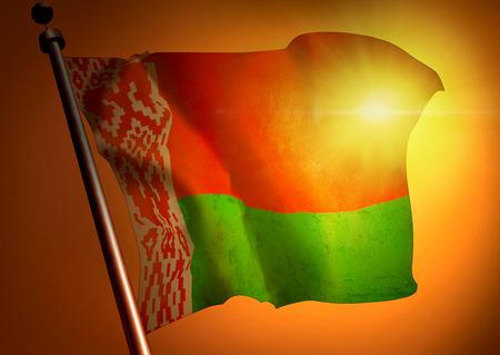 winner waving Belarus flag against the sunset