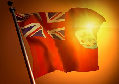 winner waving Bermuda flag against the sunset