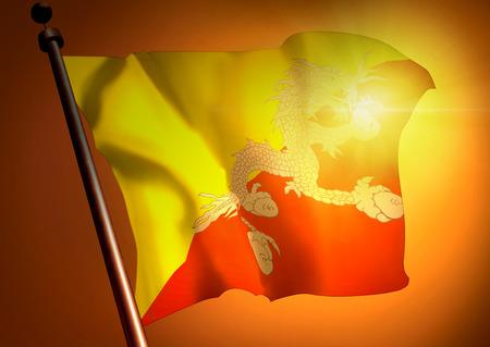 winner waving Bhutan flag against the sunset