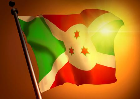 winner waving Burundi flag against the sunset