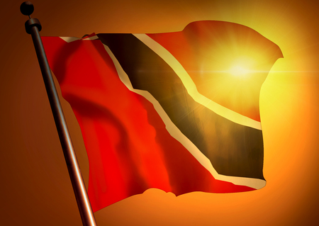 winner waving Trinidad And Tobago flag against the sunset 版權商用圖片