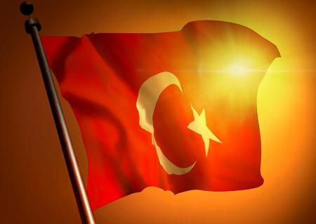 winner waving Turkey flag against the sunset