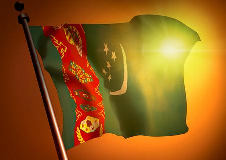 winner waving Turkmenistan flag against the sunset