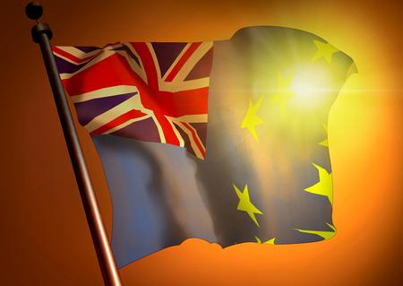 winner waving Tuvalu flag against the sunset 版權商用圖片