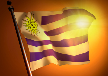 winner waving Uruguay flag against the sunset