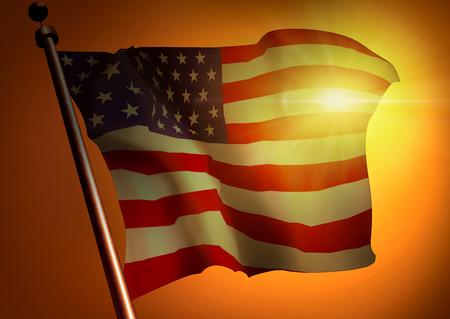 winner waving USA flag against the sunset 版權商用圖片