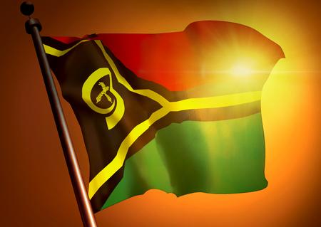 winner waving Vanuatu flag against the sunset