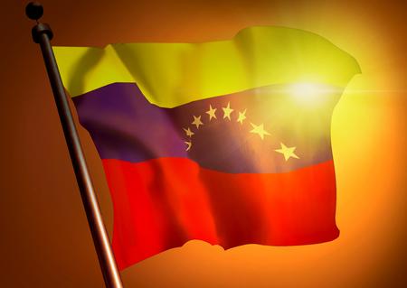 winner waving Venezuela flag against the sunset