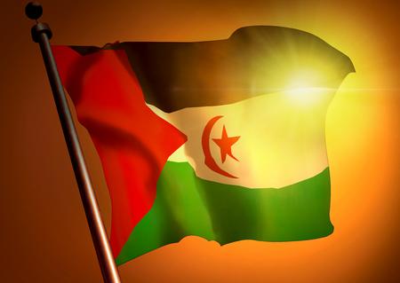 winner waving Western Sahara flag against the sunset