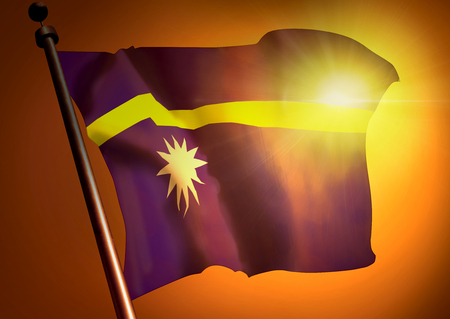 winner waving Nauru flag against the sunset
