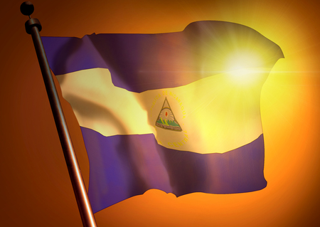 winner waving Nicaragua flag against the sunset