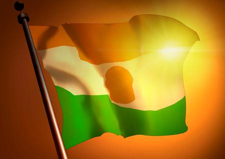 winner waving Niger flag against the sunset 版權商用圖片
