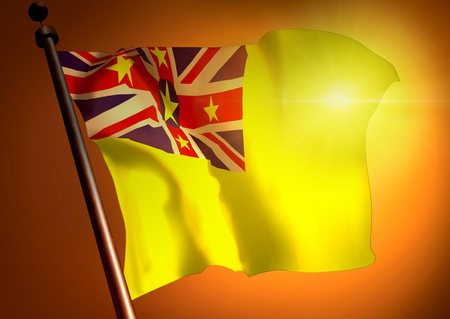 winner waving Niue flag against the sunset