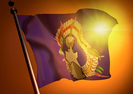 winner waving Northern Mariana Islands flag against the sunset 版權商用圖片