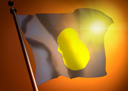 winner waving Palau flag against the sunset 版權商用圖片
