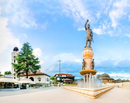Panoramic view of Skopje square of Filip II father of Alexander the Great at sunrise, Macedonia