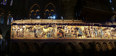 Panoramic view of Paris - reliefs from Jesus life - Notre-Dame cathedral - Christ in Gestemany garden
