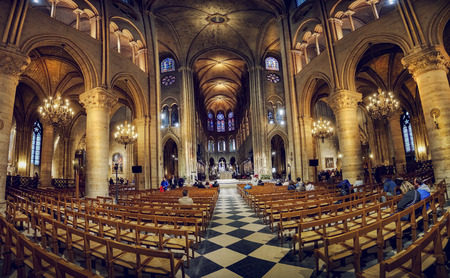 Panoramic view of Notre Dame de Paris Cathedral Interior on May 2017. Notre Dame construction began in the year 1163 and was completed in the year 1345.