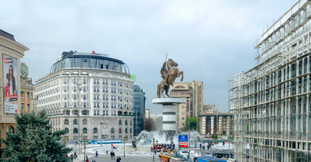 SKOPJE, MACEDONIA - circa NOE, 2016: Square Macedonia in Skopje with central statue of Alexandar the Great (worior on horse) Editorial