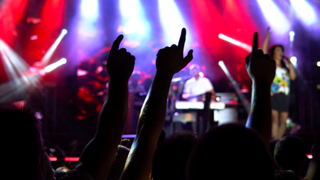 Silhouettes of people with hands up dancing at concert.  Public concert, no ticketing event Stock Photo