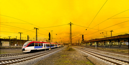 Colorful spring sunset train track in Dusseldorf. Germany, Europe