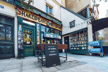 Paris, France - circa May, 2017: The Shakespeare and Co. bookstore on May 05, 2017 in Paris, Opened in 1951 by George Whitman near Notre Dame,is a reading library, specializing in English-language literature