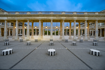 Buren's columns, Sculpture in the courtyard of the Palais-Royal Palace. Stock Photo