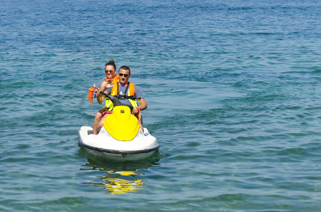Couple people having fun with Jetski Banque d'images
