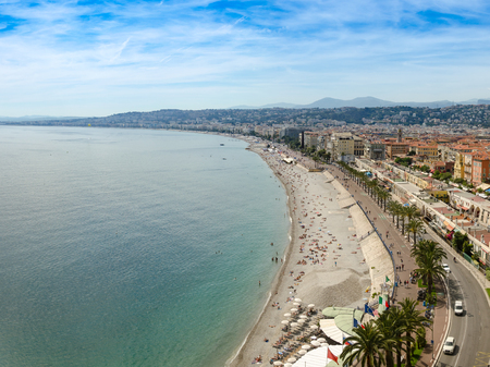 Panoramic aerial view of public beach in Nice in a beautiful summer day, France Standard-Bild - 109456160