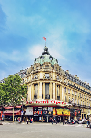 Paris, France - May 08, 2017: View of Gaumont Opera Capucines. Built on the site of the Vaudeville Theatre, it opened in 1927 to the design of English theatre architect Frank T. Verity.