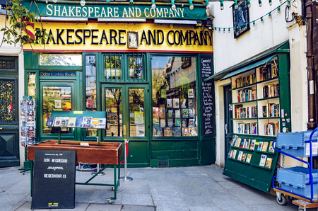 Paris, France - May 08, 2017: Shakespeare and Company bookstore and Library on the Seine riverbank in Paris, first opened by Sylvia Beach on 19 November 1919