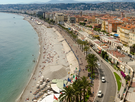 Nice, France - 05 May, 2015: Nice panorama of coast and old town, France Standard-Bild - 109527757