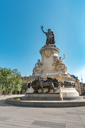 Monument to the republic, bronze statue of Marianne, a personification of the French republic at the Place de Republique in Paris, France
