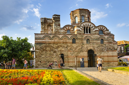 NESEBAR, BULGARIA - circa JUL, 2016: The Church of Christ Pantocrator is a medieval Eastern Orthodox church in the Bulgarian town of Nesebar on the Black Sea coast. Part of the Ancient Nesebar UNESCO World Heritage Site