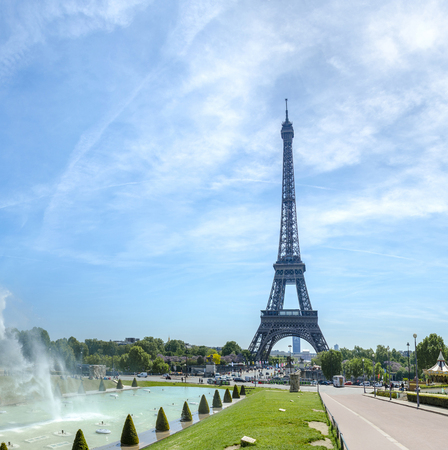 Eiffel Tower and Trocadero fountains in Paris, France.