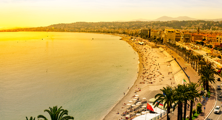Aerial view of Nice, France at sunset Standard-Bild - 109521243