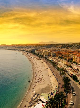 View of Nice city - Cote d'Azur - France at sunset Standard-Bild - 109521248