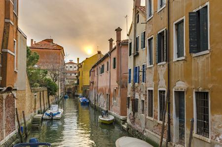 View of the Ponte de L Anatomia and the Rio de San Zan Degola Canal from the Ponte de Ruga Bella o del Forner in Venice, Italy. Venice is a popular tourist destination of Europe