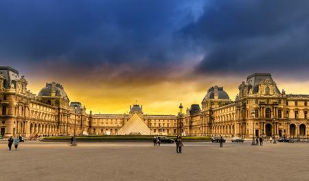Amazing sunrise over Louvre museum a famous iconic landmark in Paris
