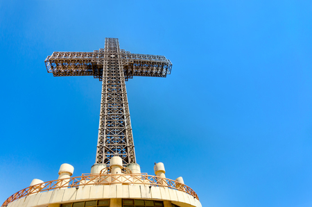 Millennium Cross on a top of the Vodno mountain hill above Skopje, Macedonia