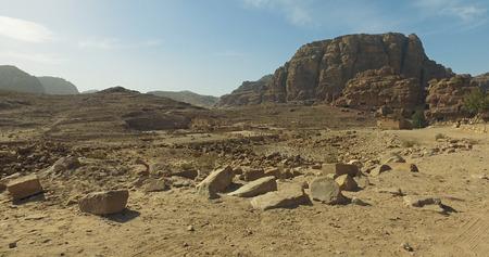 Beautiful view of Wadi Rum desert in Hashemite Kingdom of Jordan. Amazing scenery of Wadi Rum desert in Jordan, also known as The Valley of Moon