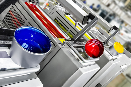 Printing solutions: offset printer 4 colors print units with color pots 스톡 콘텐츠
