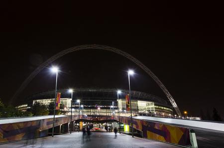 Wembley stadium at night. Stock Photo